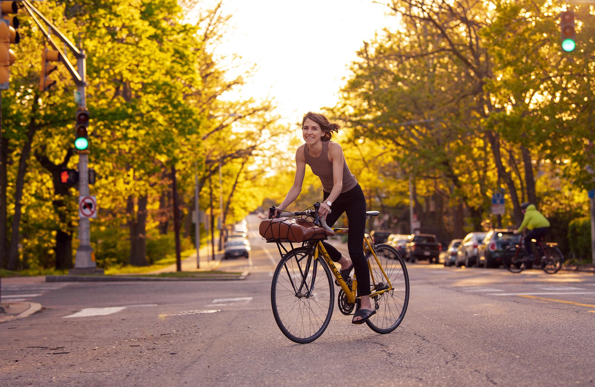 Lisa Piccirillo on a bicylcle