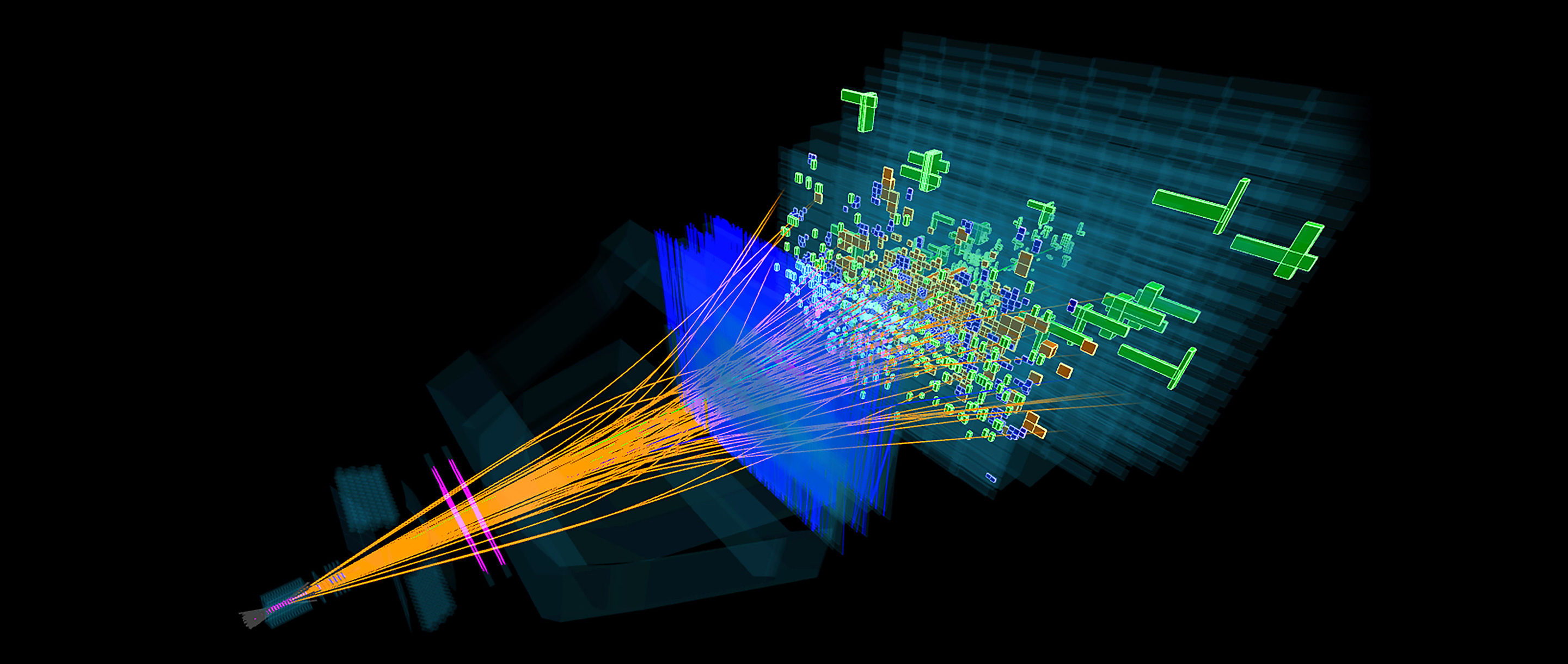 Lines representing paths of particles fan out from a point and pass through a series of detectors.
