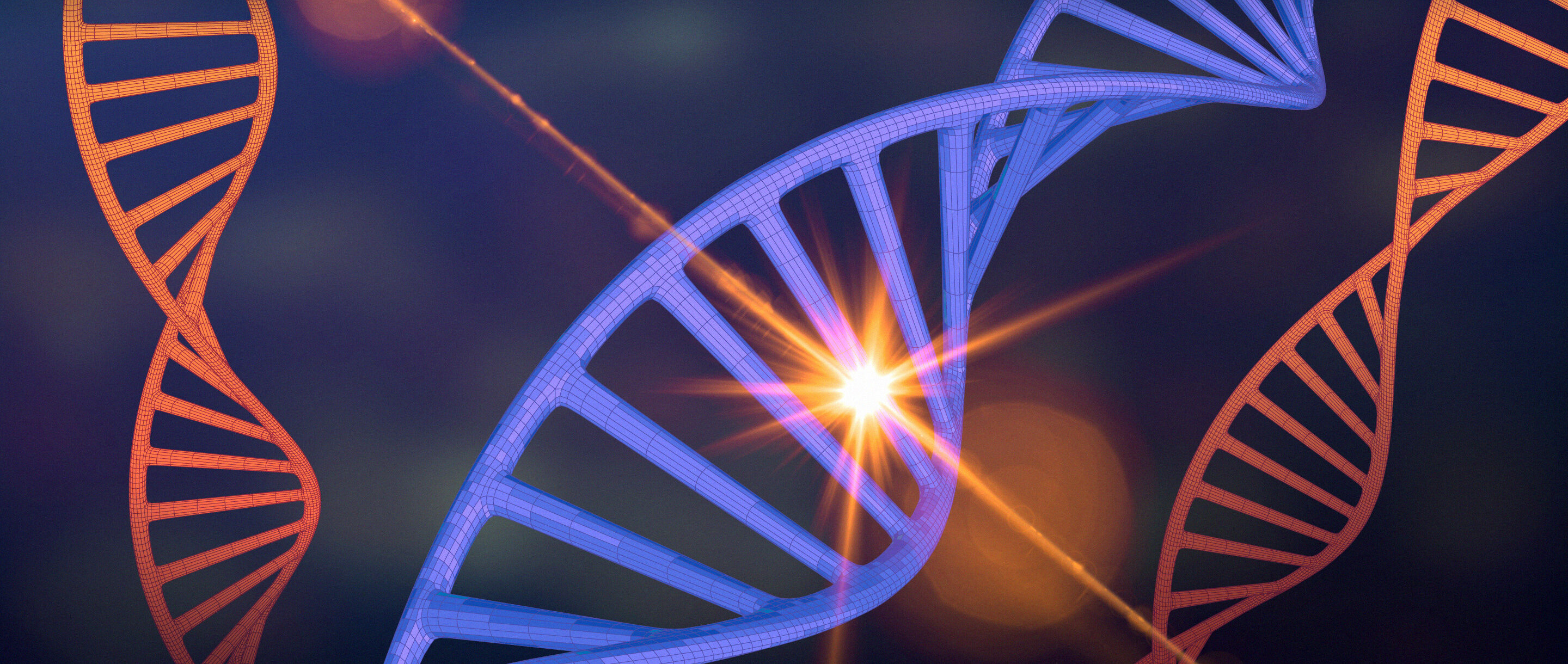 A DNA double helix being struck by a cosmic ray.