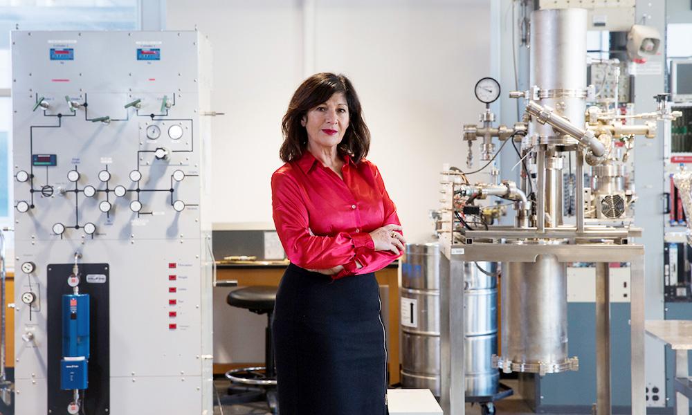 Elena Aprile in her laboratory.