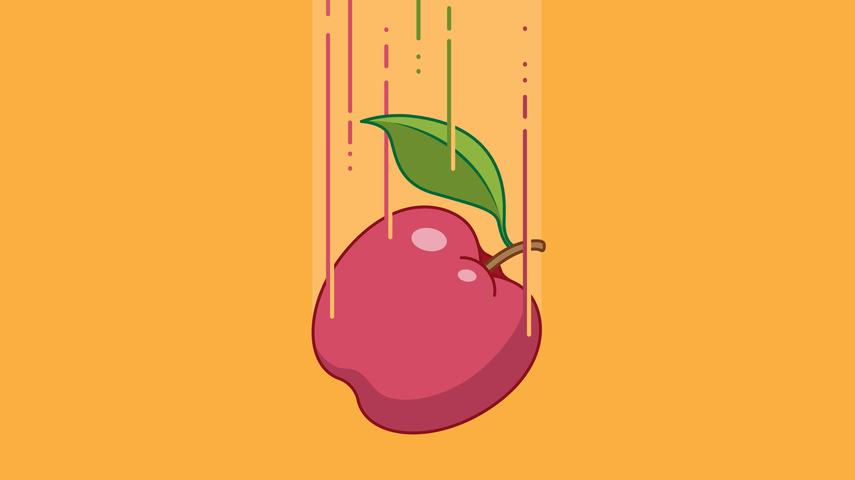 A falling apple.