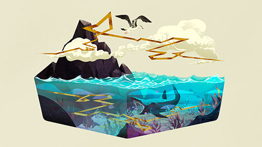 Illustration of a flying albatross, a swimming basking shark and the Lévy walk paths they take.