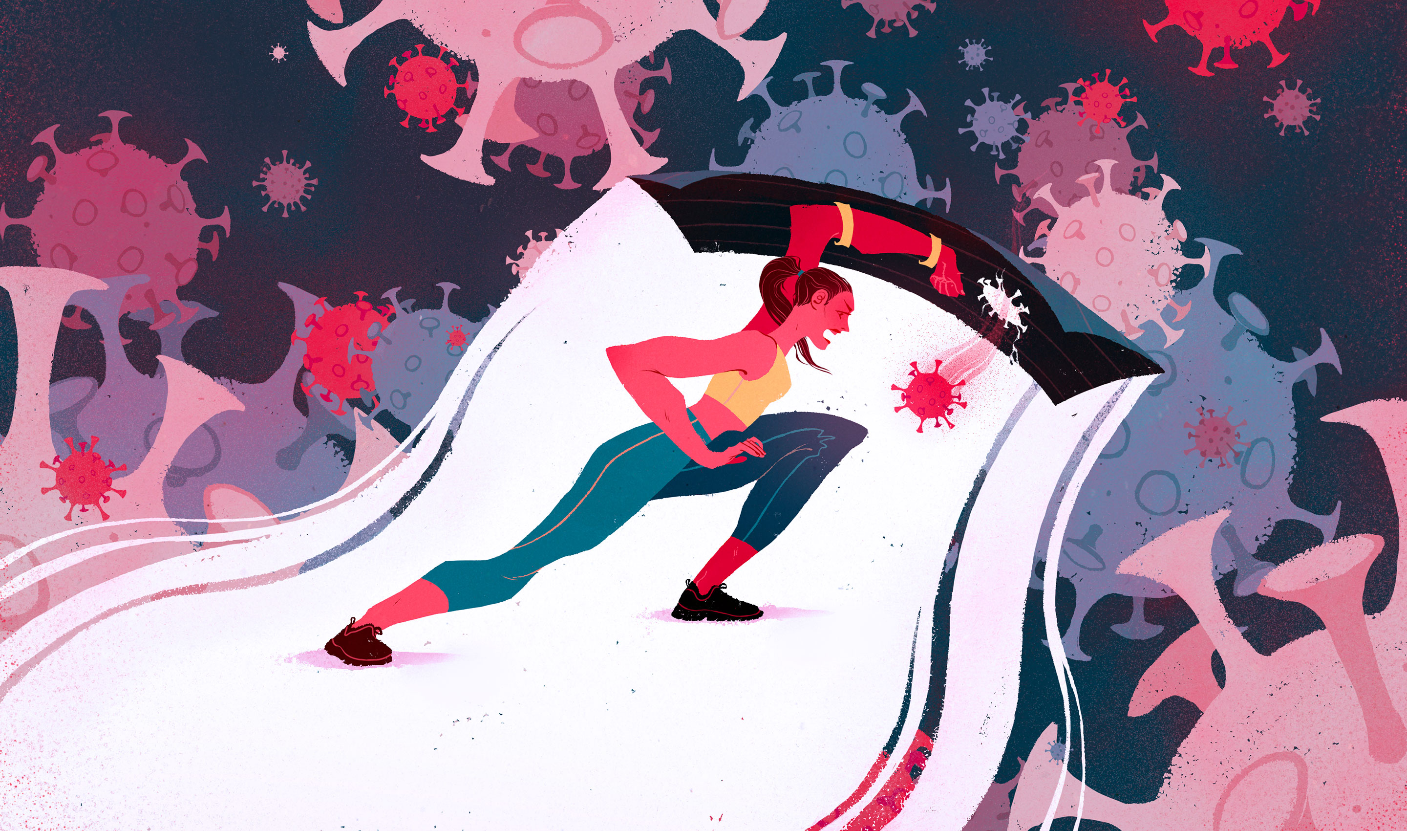 Illustration of a woman brandishing a shield to keep viruses at bay. One virus has slipped through a small hole in it.
