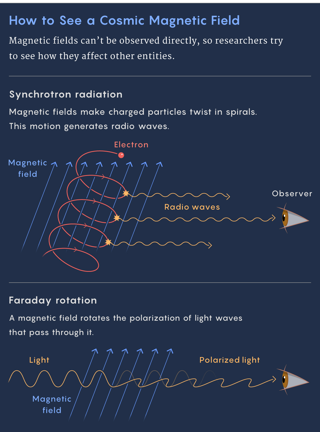Graphic of synchrotron radiation and Faraday rotation.