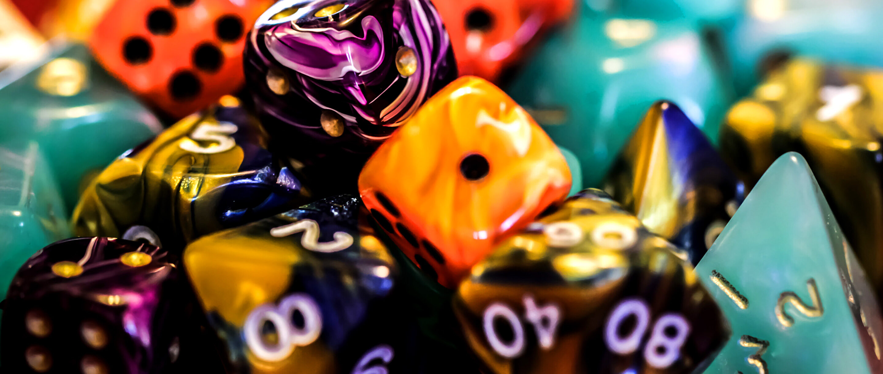 Photo of various kinds and colors of dice