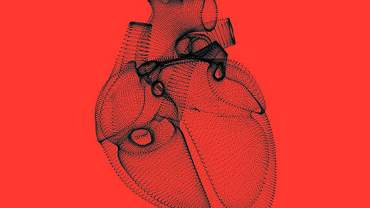 Simple line drawing of a beating human heart.