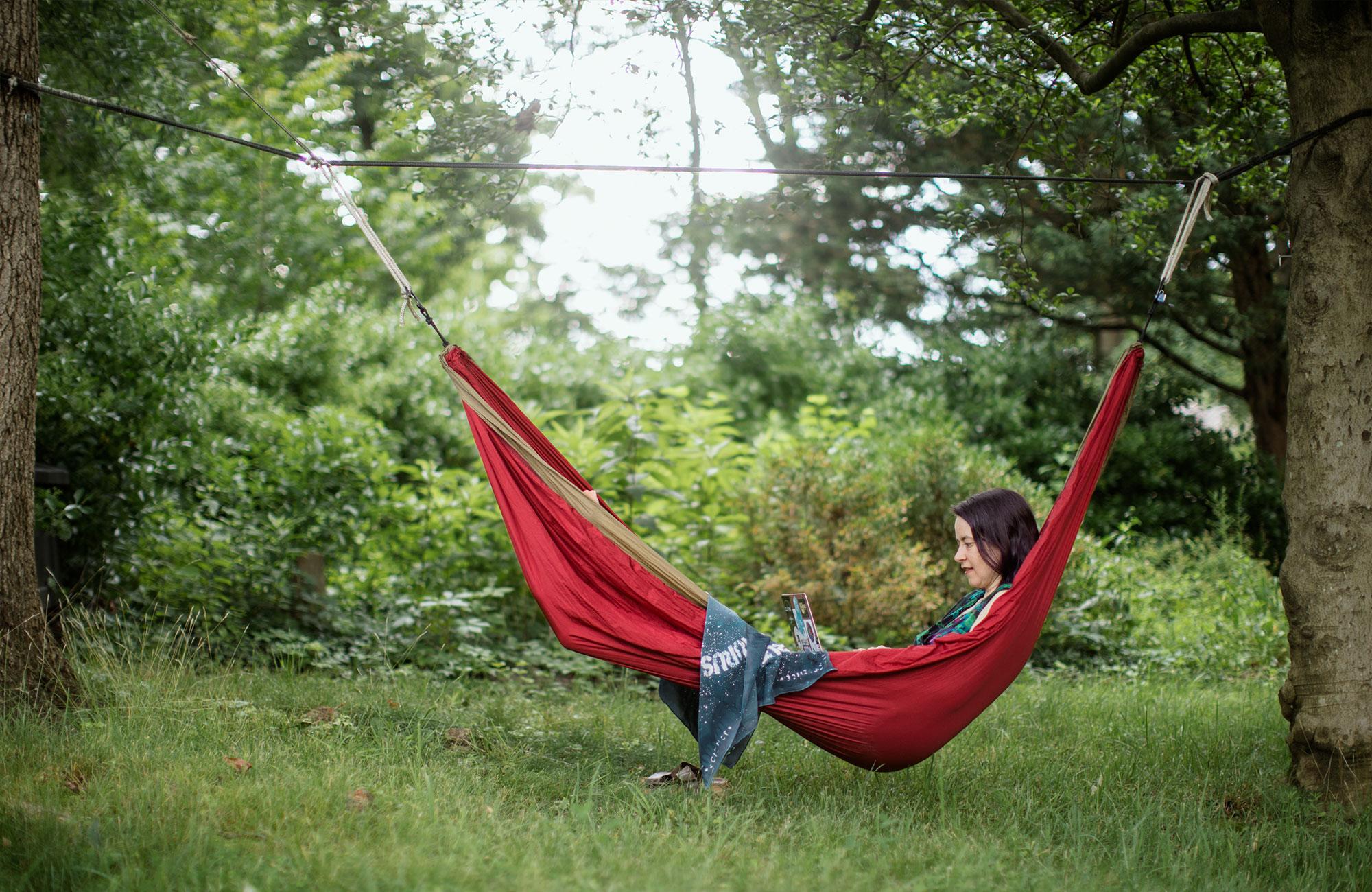 LizMacdonald in a hammock.