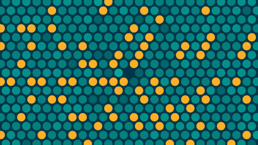 Visualization of the distribution of prime numbers in the shape of colorful dots in a hexagonal pattern