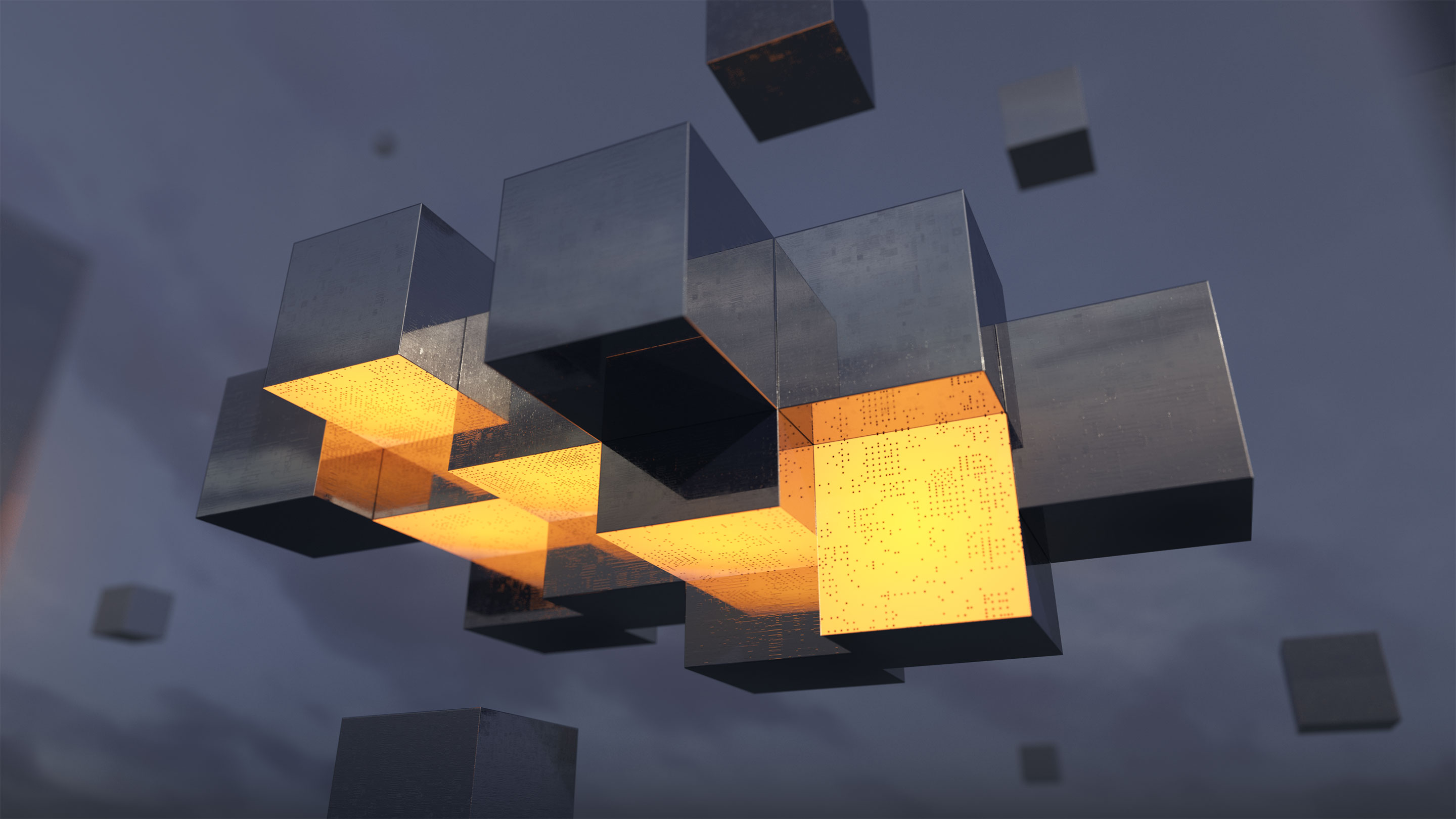 Illustration of floating metal cubes joining together, some of their faces yellow