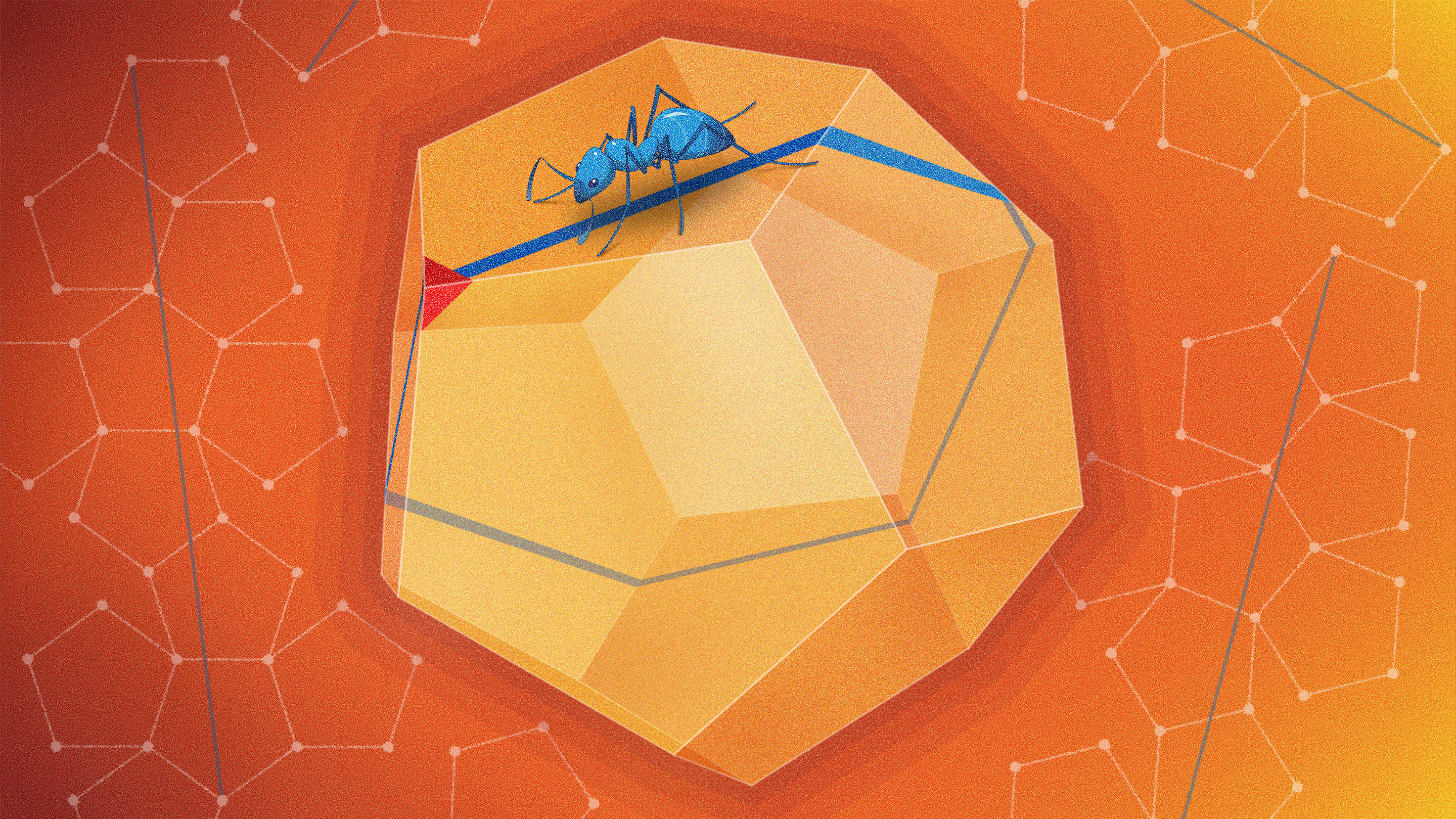 An illustration of an ant walking in a straight line around a dodecahedron.