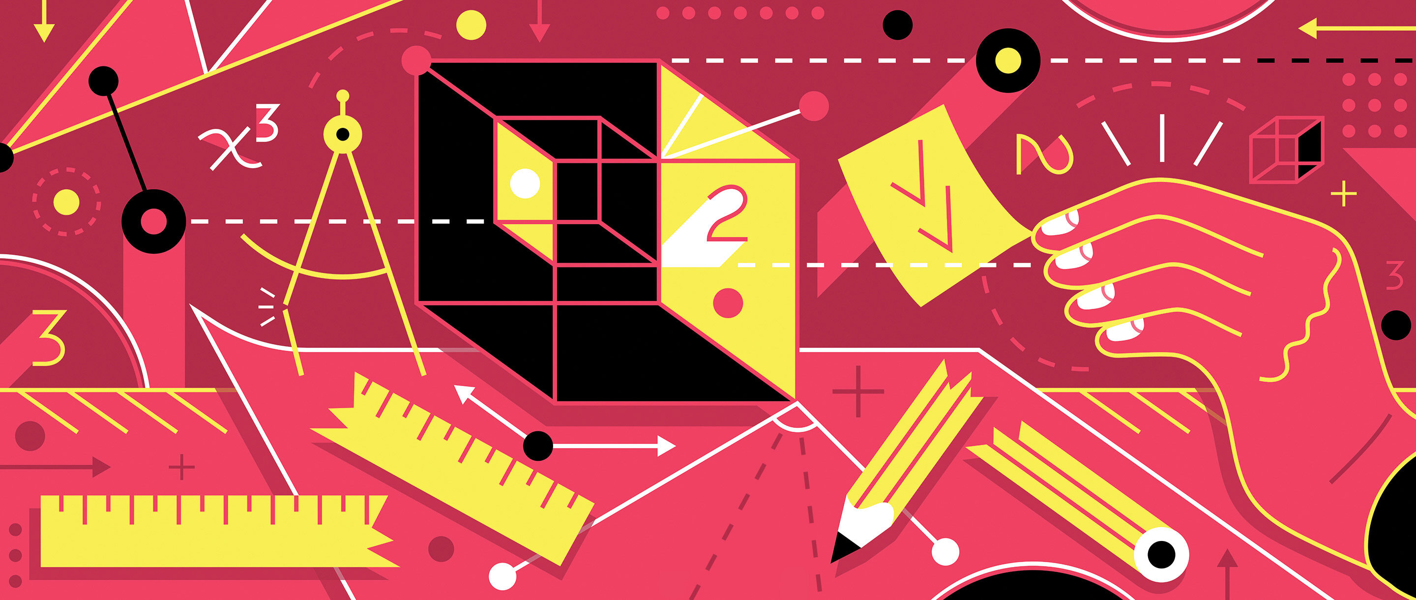 An abstract illustration showing broken tools, cubes, numbers and other abstract representations of impossible math