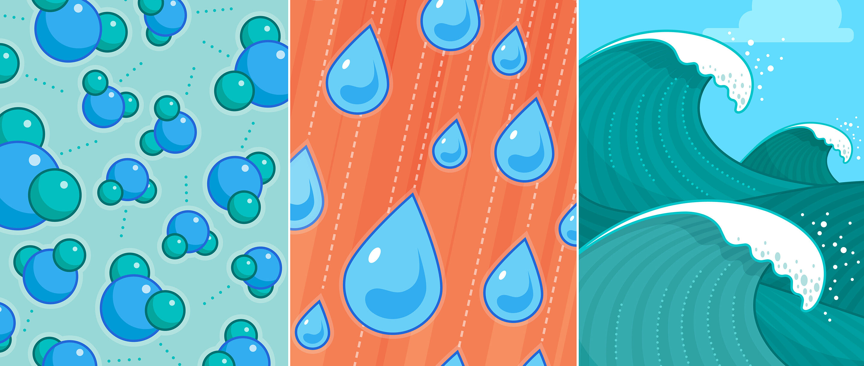 water molecules, droplets and a wave