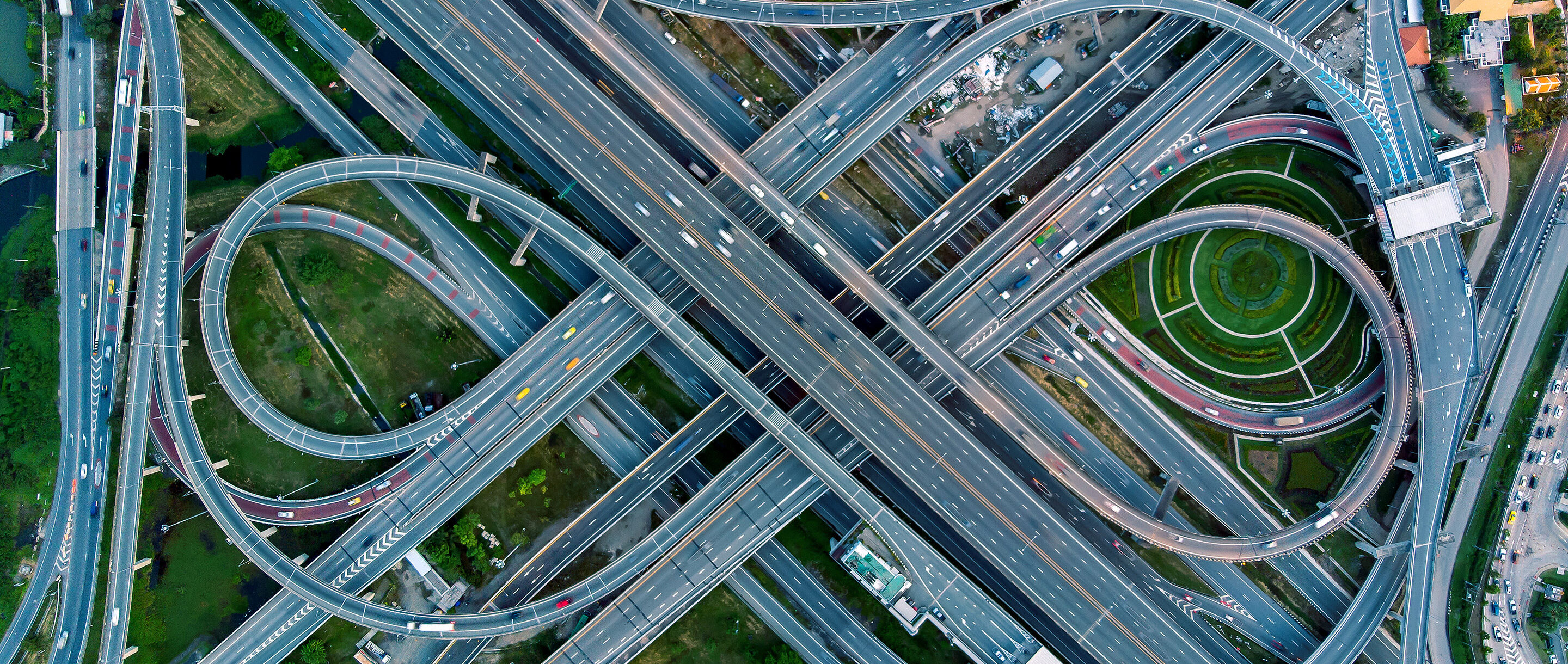 Aerial image of a complicated road network.