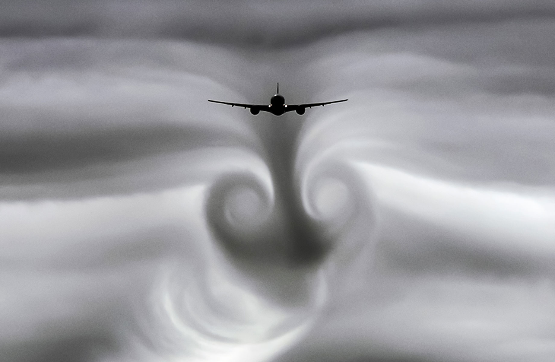 An airplane wing creates vortex rings