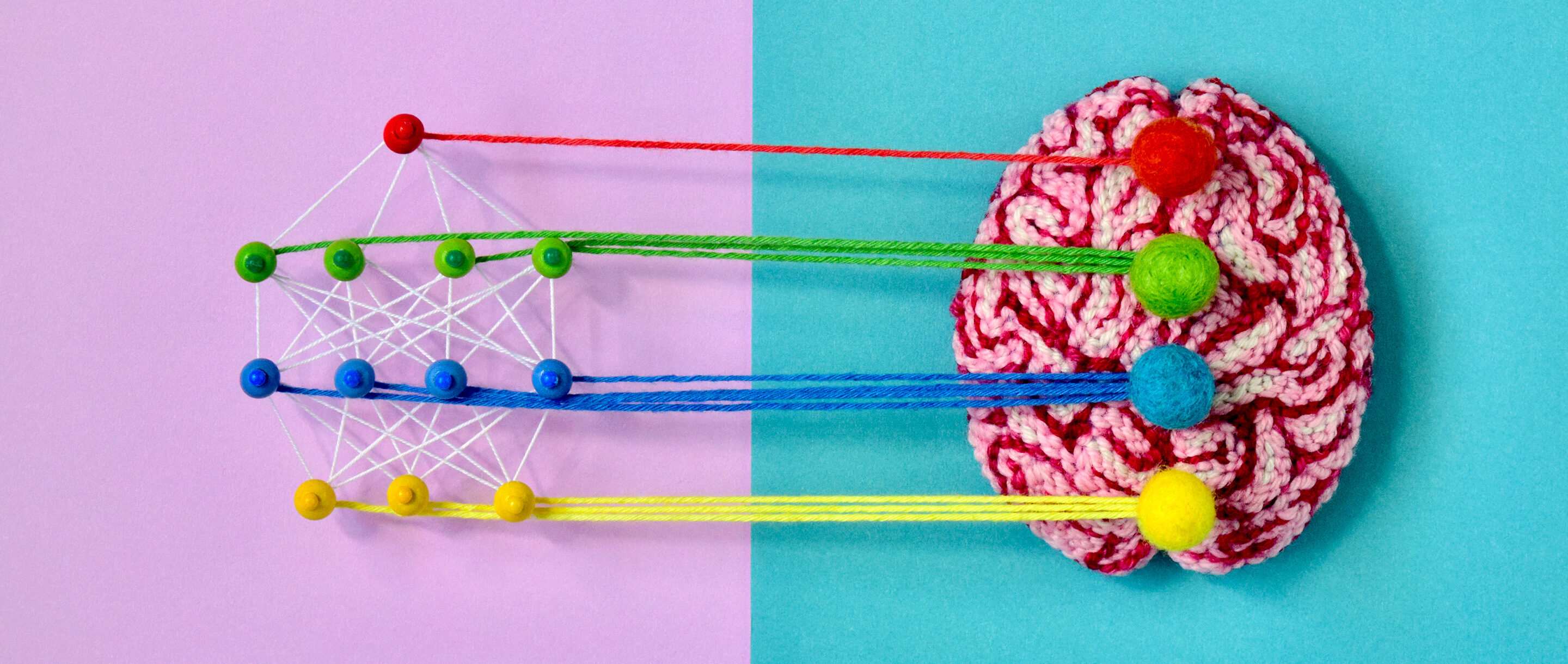 Yarn models of a deep learning network and a brain.