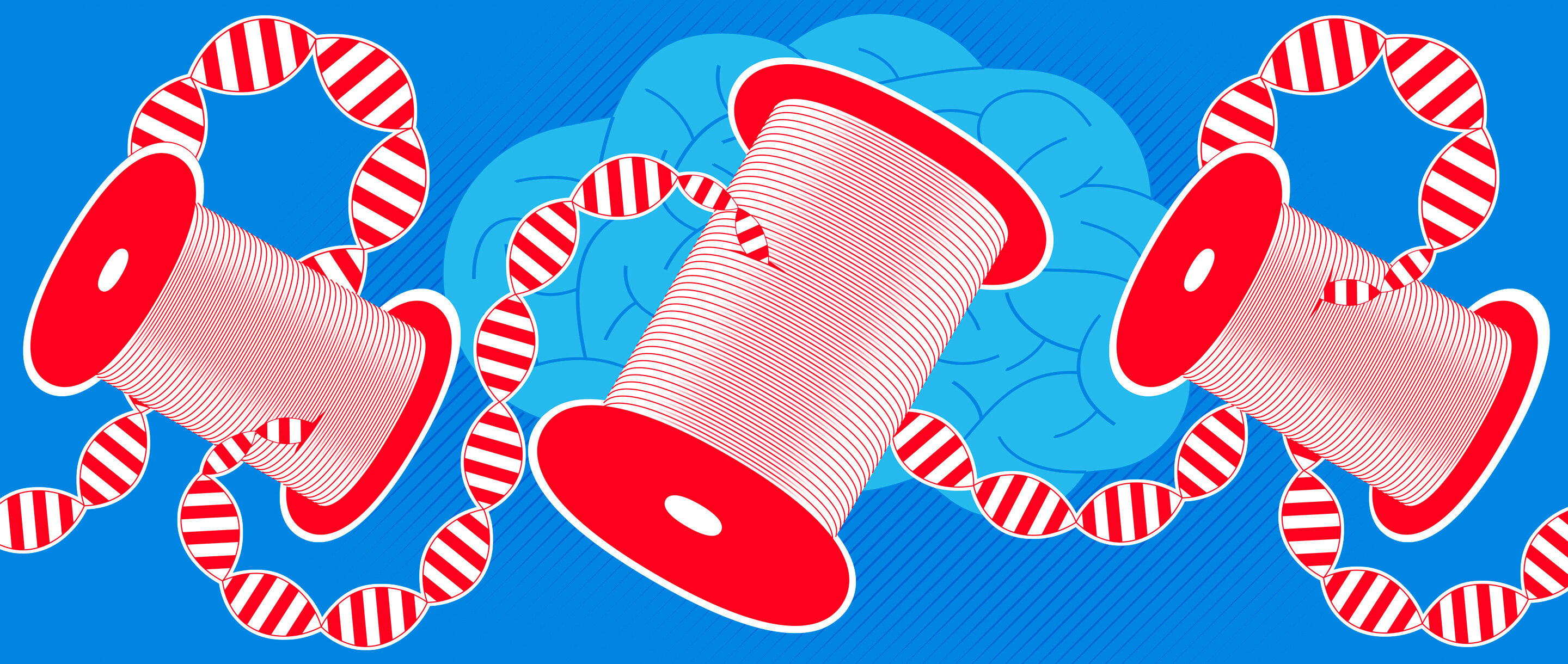 Illustration of red spools with strands of DNA as the thread, with a blue brain in the background.