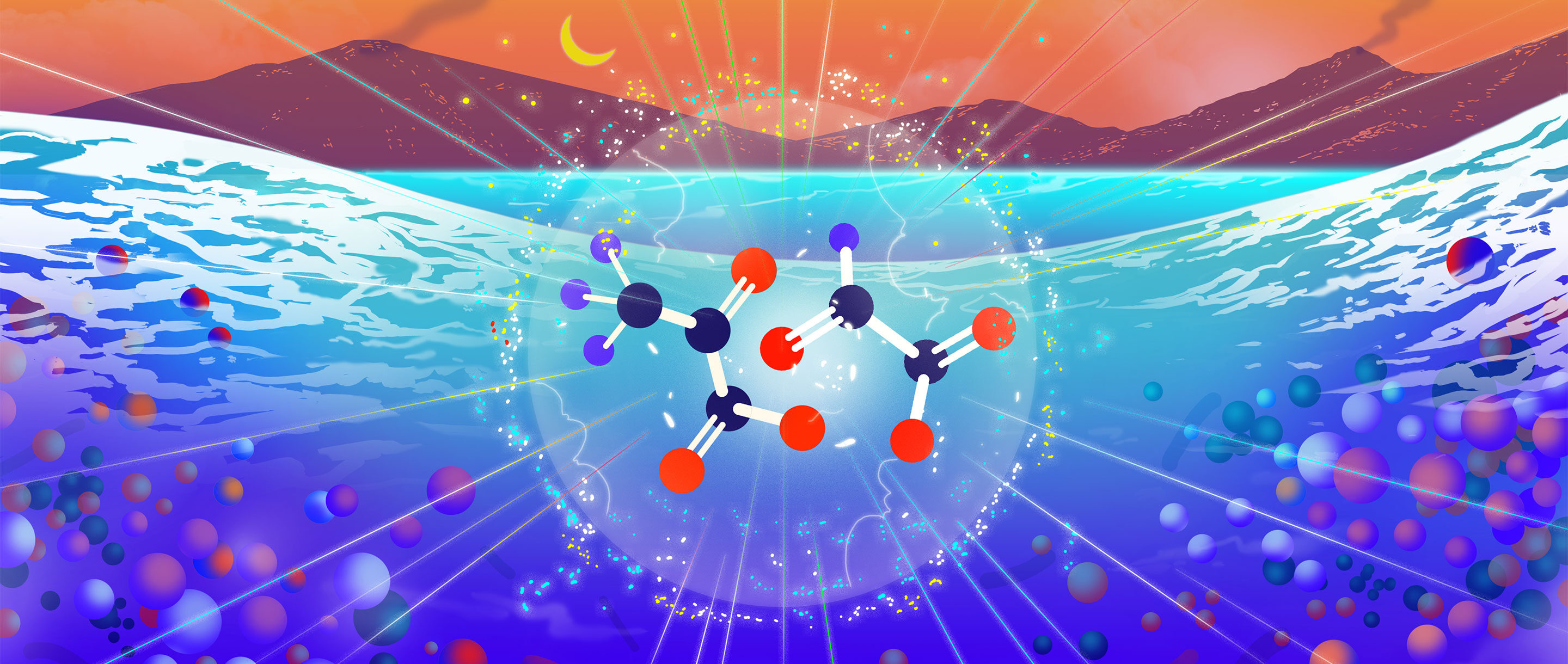 Illustration that depicts two types of simple molecules reacting in water on the early Earth.