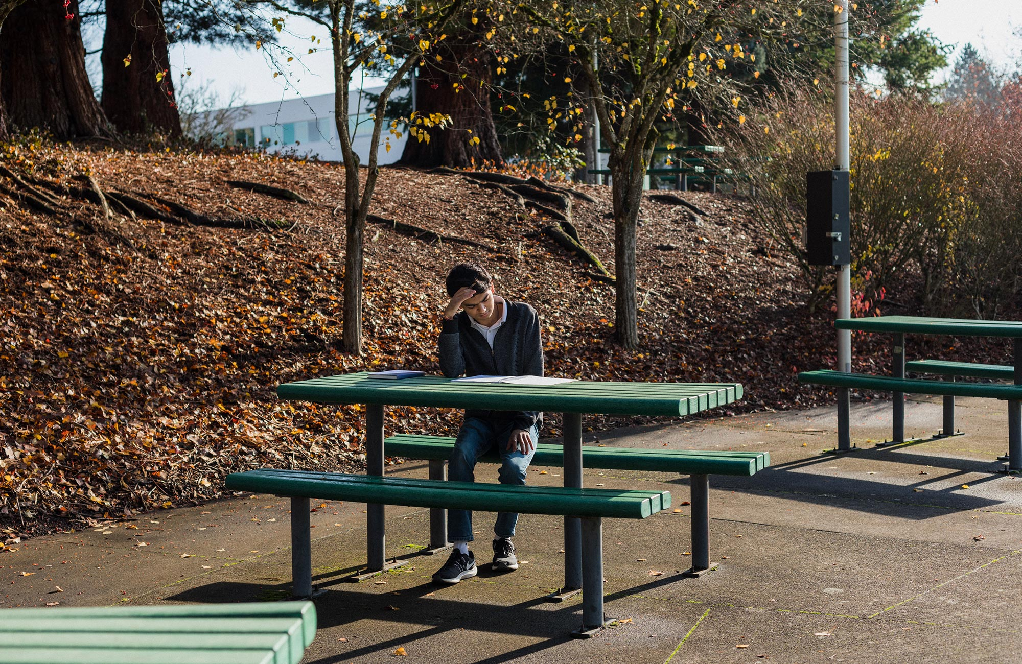 A photo of Ashwin Sah working at a park table