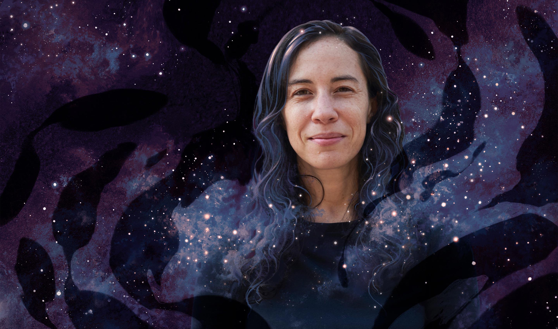 Cora Dvorkin in front of a starry backdrop.