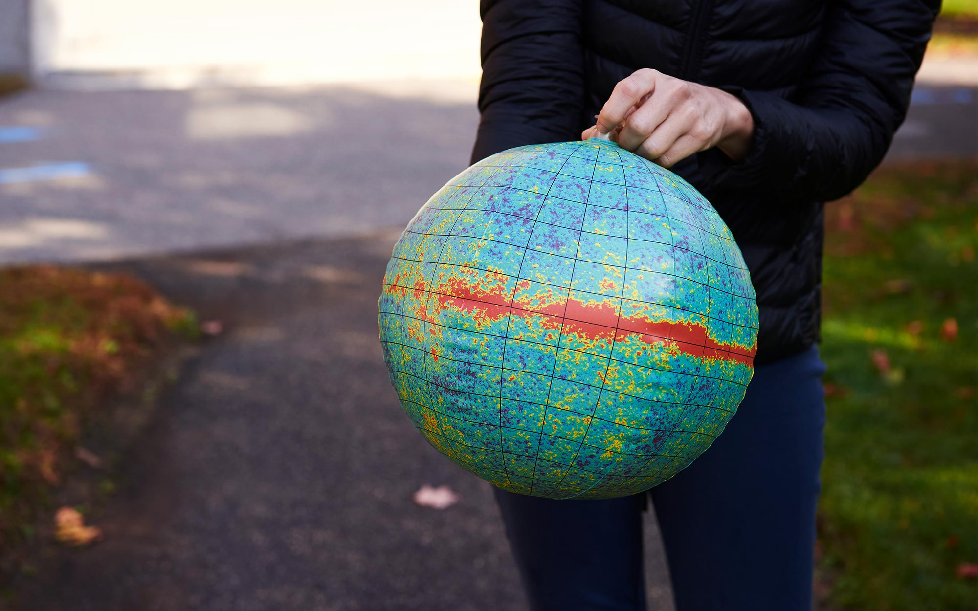 An inflatable toy map of the cosmic microwave background radiation.
