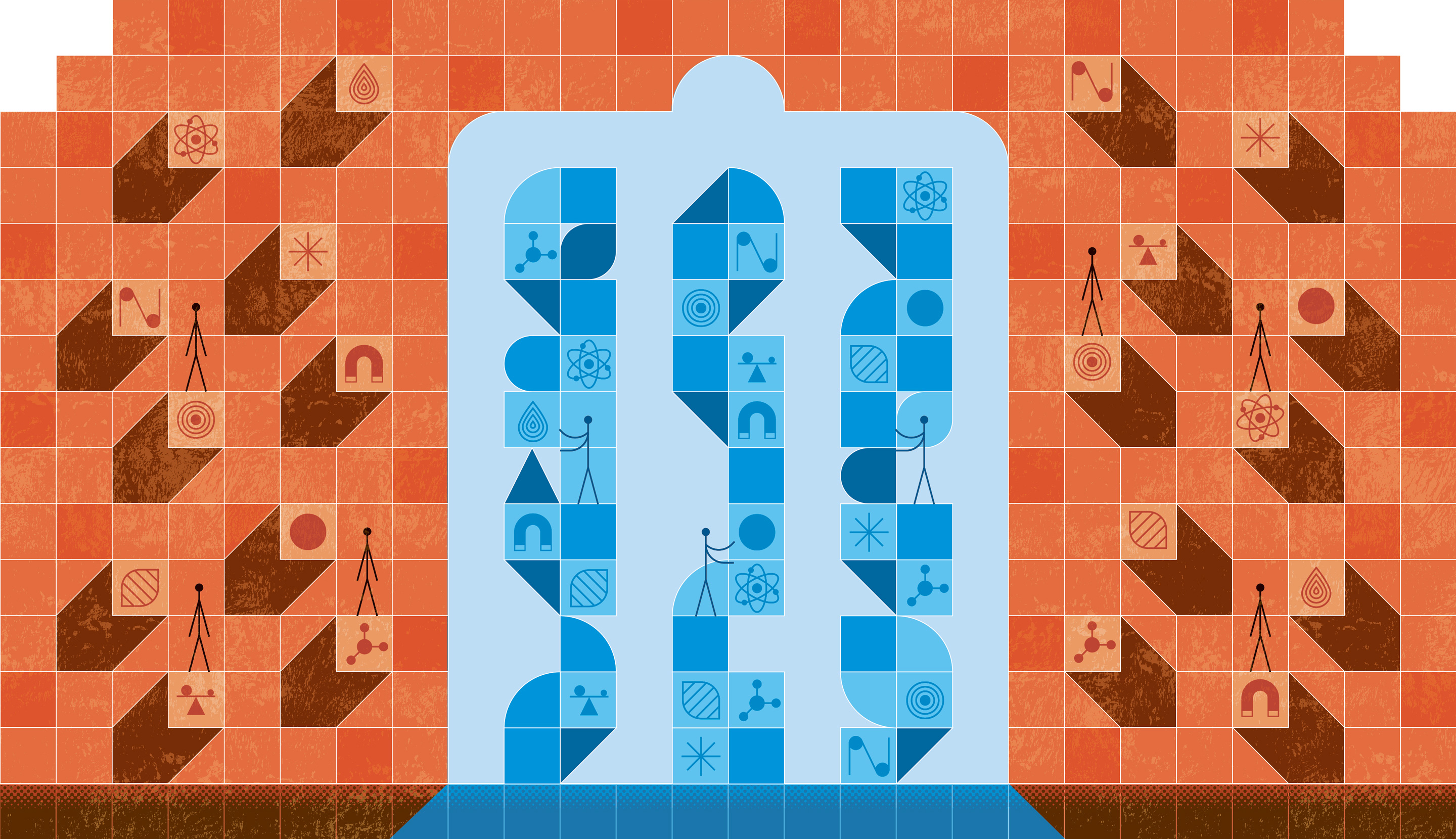 Illustration showing orange building blocks outside a doorway that opens onto blue towers made up of similar building blocks.