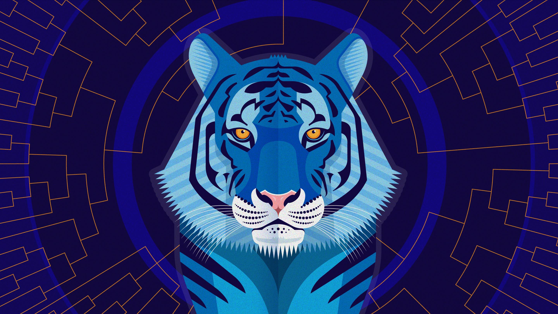 Illustration of a blue tiger.