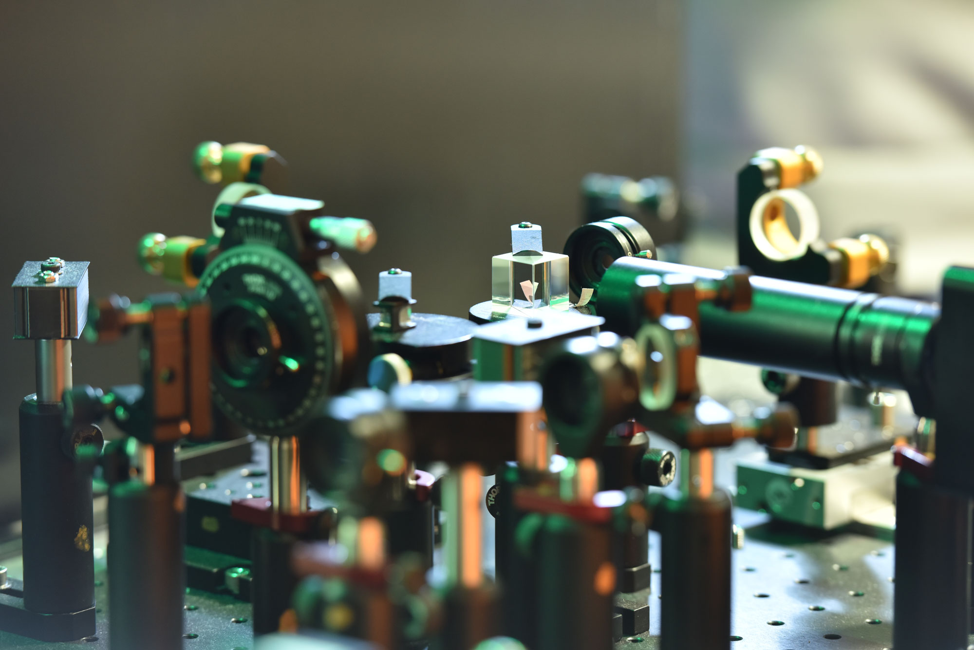 Optical equipment in a physics lab.