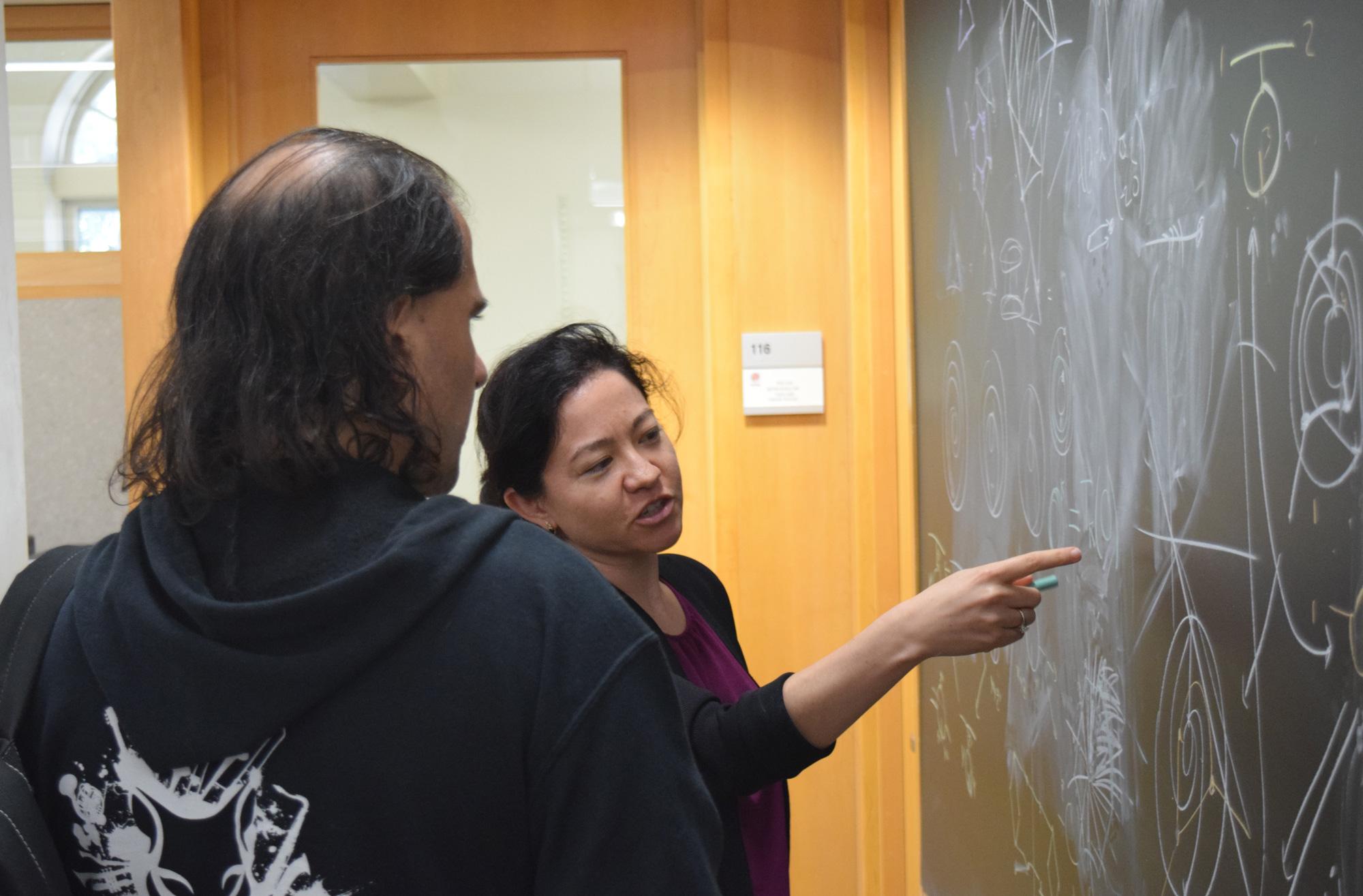 Lauren Williams and Nima Arkani-Hamed talking in front of a blackboard.