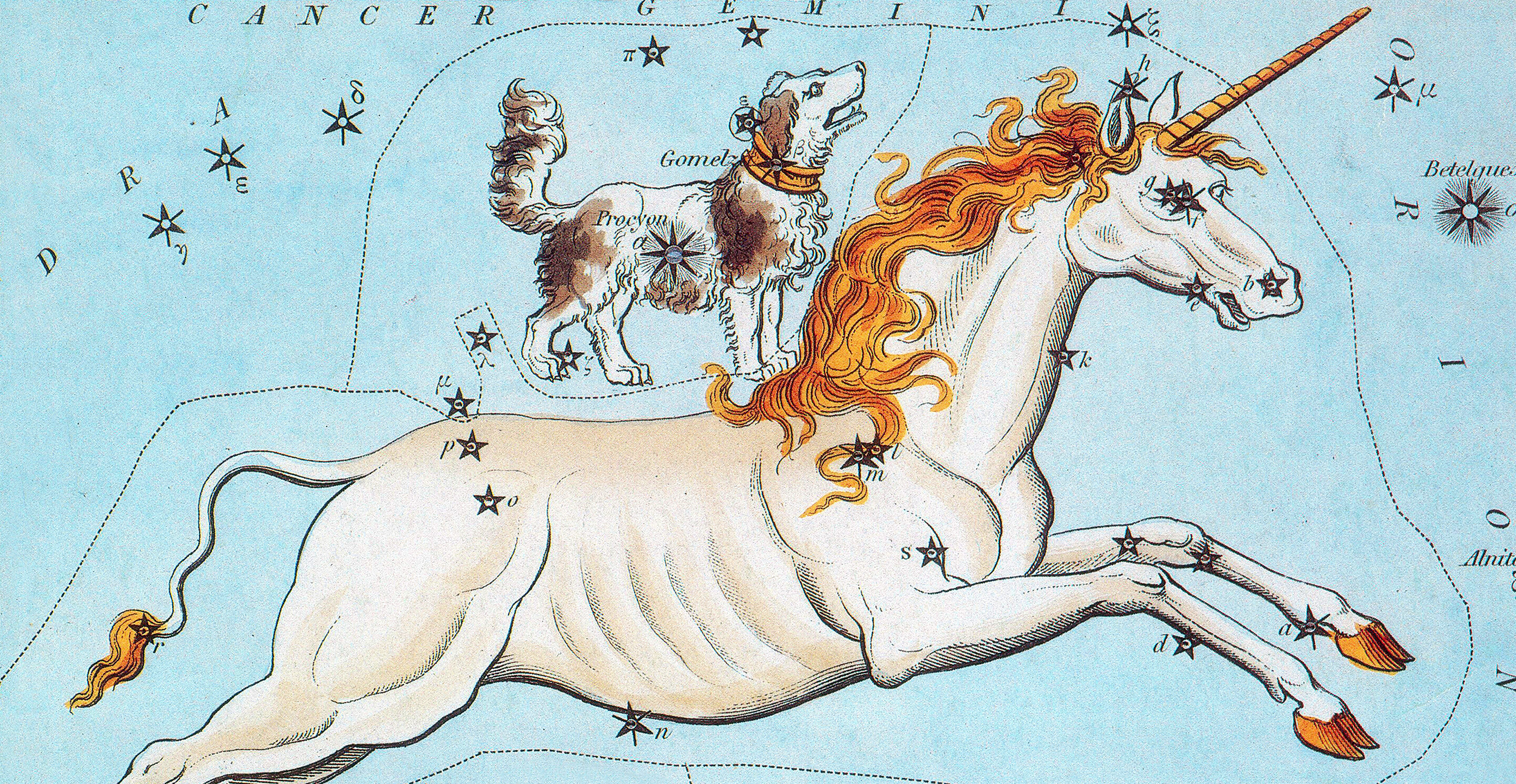 Historical star chart of the constellation Monoceros.