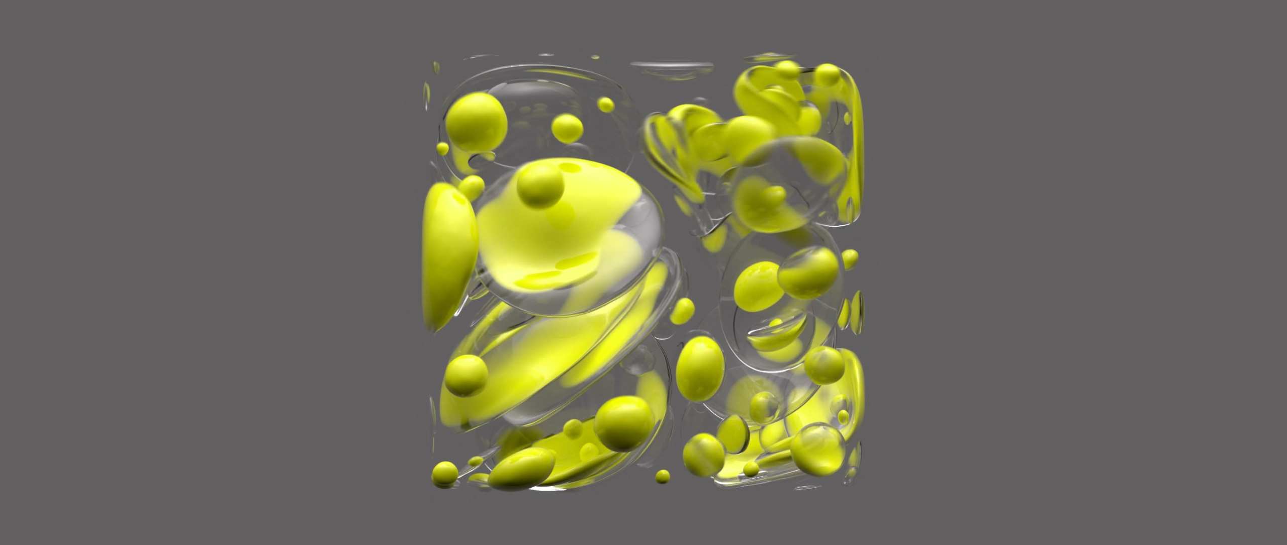 Video artwork showing yellow blobs move, merge, split, shrink and enlarge inside a clear cube.