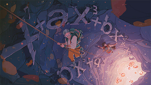 Illustration of mathematicians descending through a cavern whose walls are lined with polynomials.