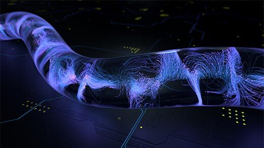 An animation showing chaotic swirls of purple coalesce into a single line