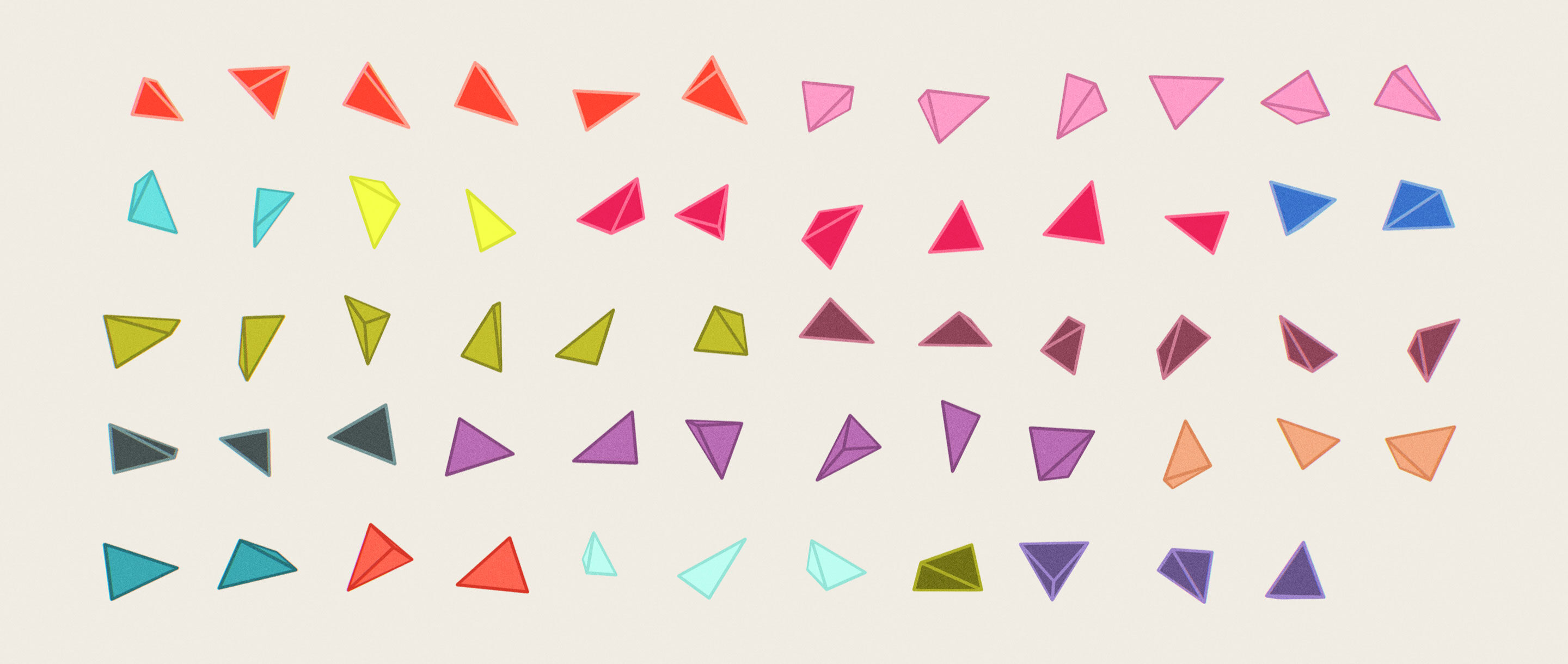 Colorful isualization of the 59 isolated examples of tetrahedra that have rational dihedral angles