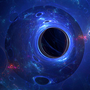 Black holes on a blue swirly background.