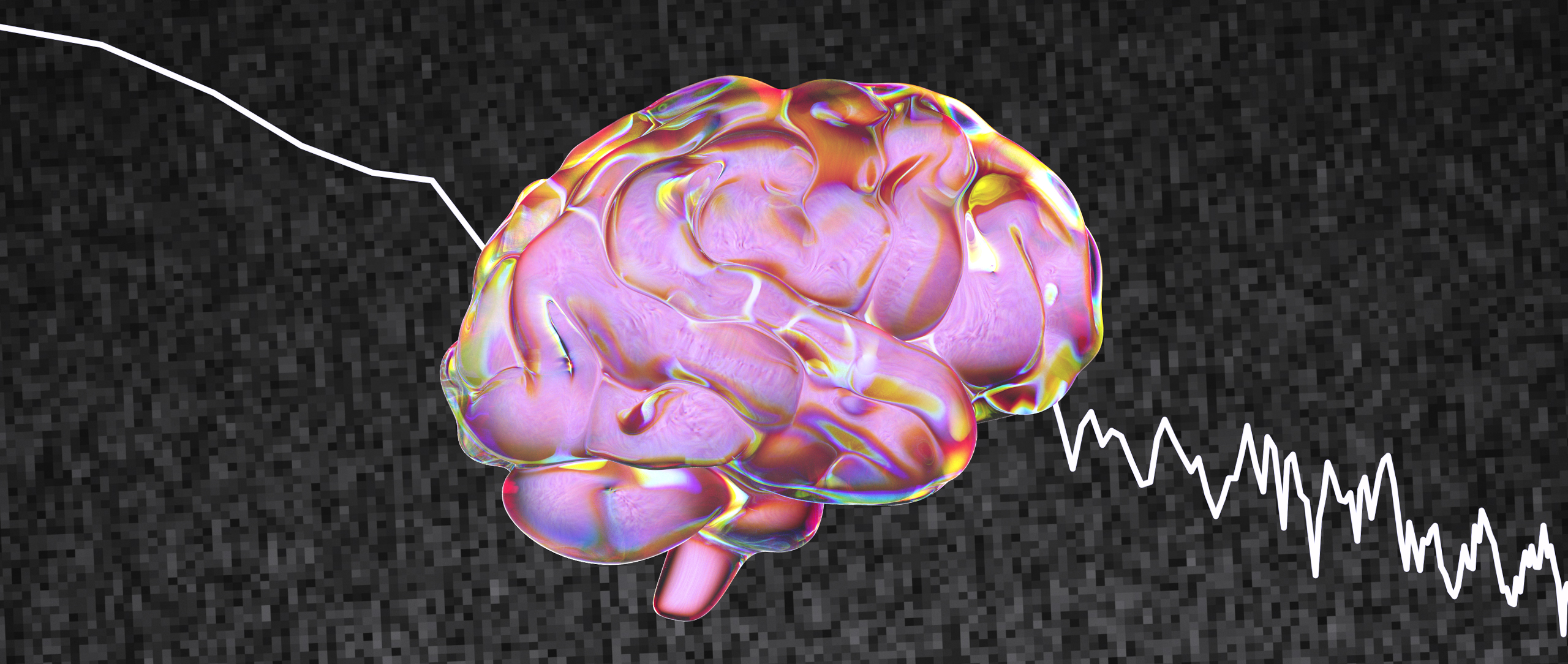 """An illustration of a human brain against """"pink noise"""" static."""