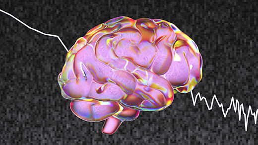 "An illustration of a human brain against ""pink noise"" static."