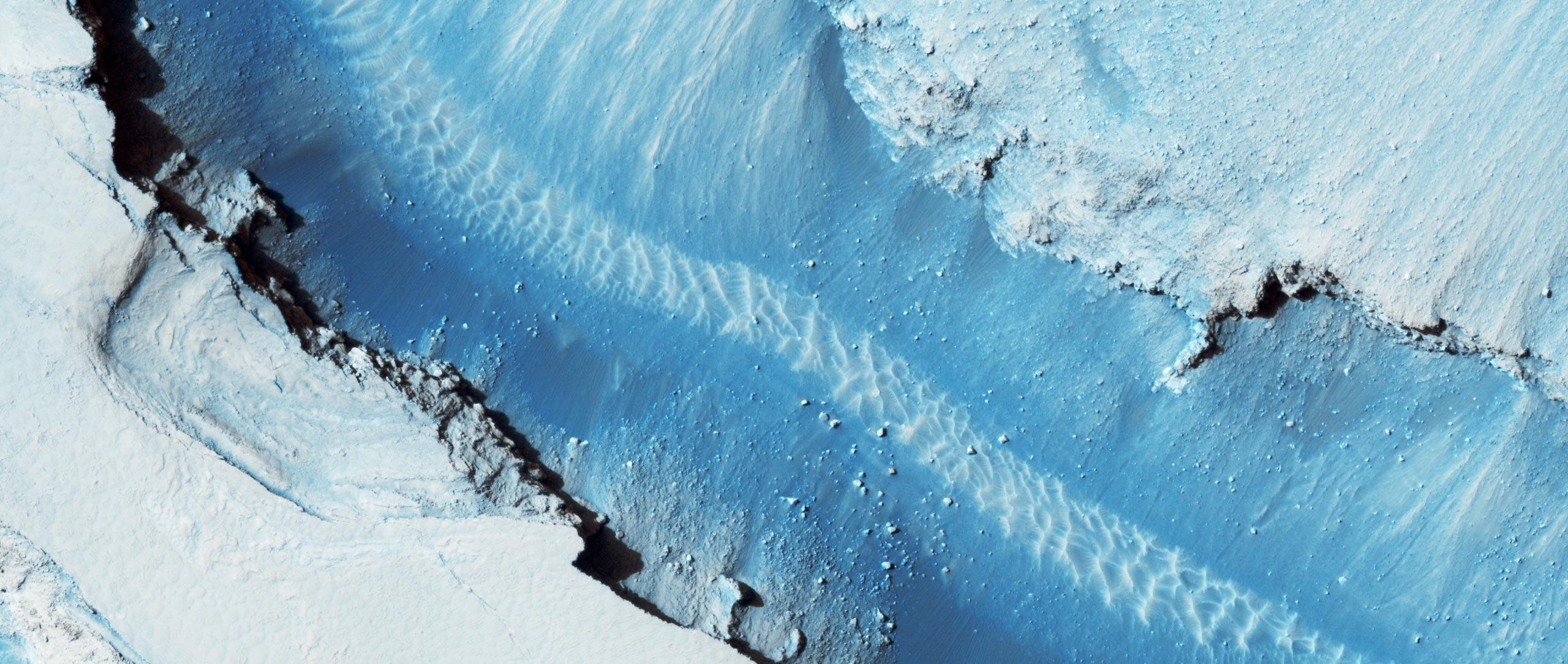 Blue faults of Cerberus Fossae
