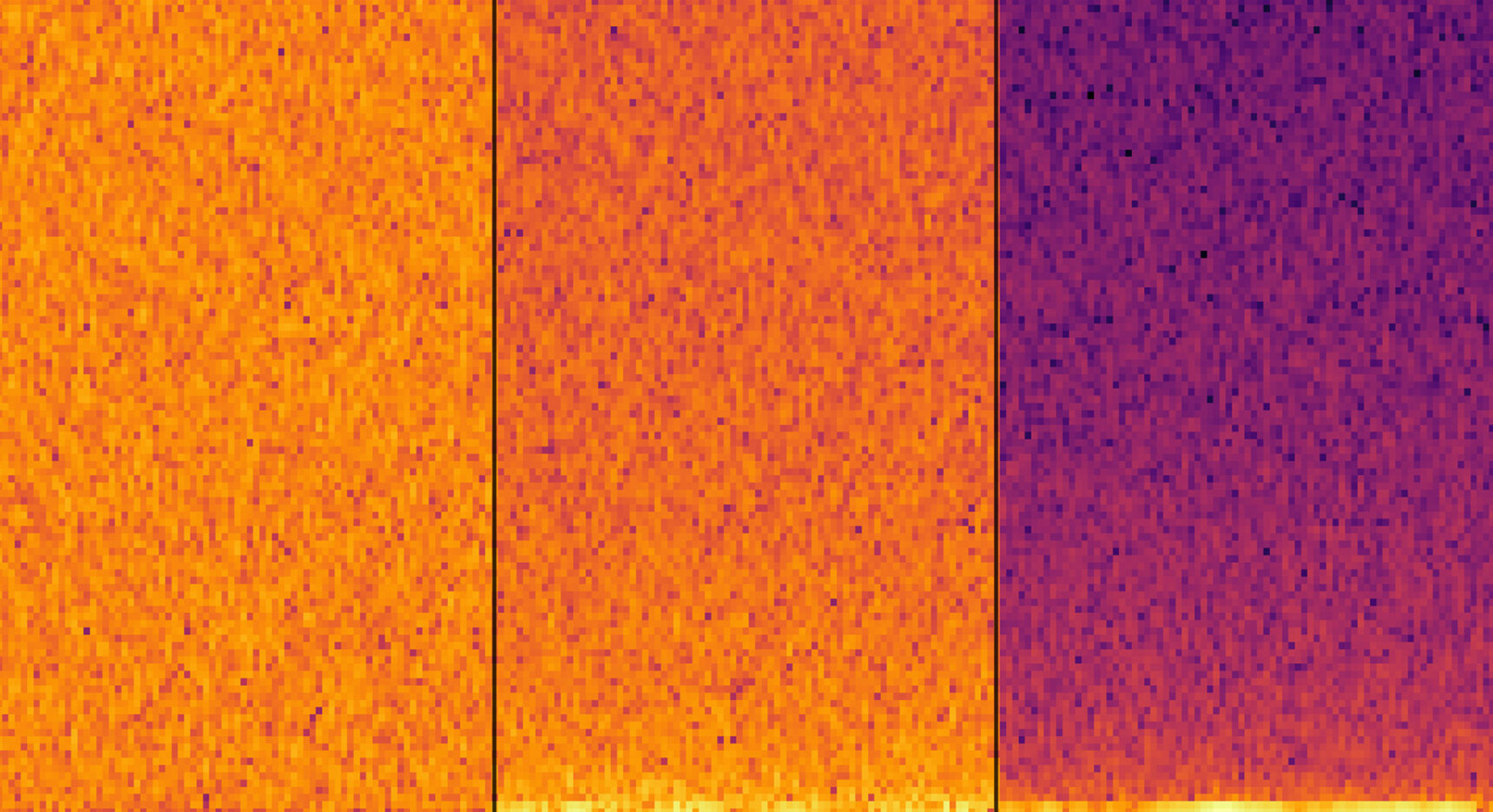 Examples of images of white noise, pink noise and brown noise.
