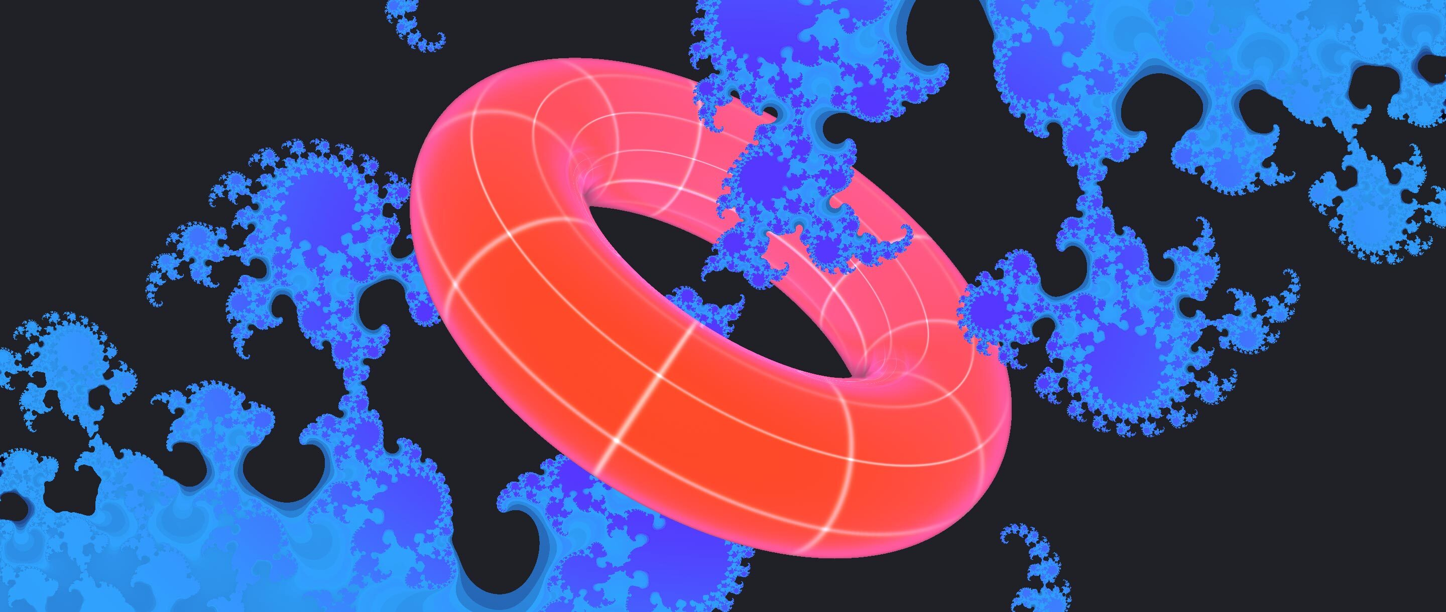 An illustration of a doughnut-shaped elliptic curve intertwined with the Julia set.