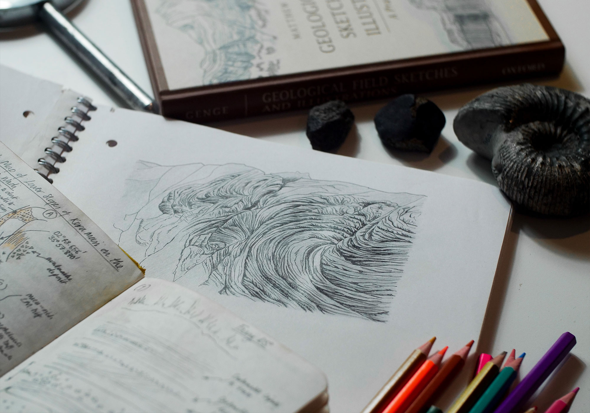a notebook showing a sketch of a swirly rock formation called a Pahoehoe.