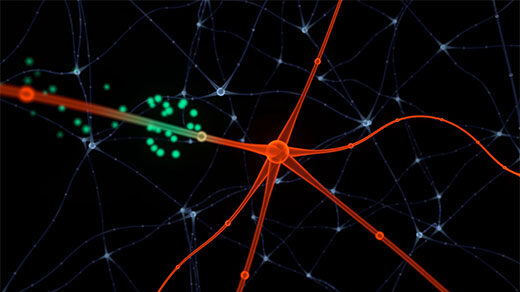 Animation of a neuron that periodically alters its responses to stimuli when it is reset into a new state by another input.