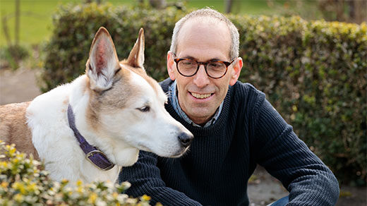 The zoologist Arik Kershenbaum of the University of Cambridge and his dog.