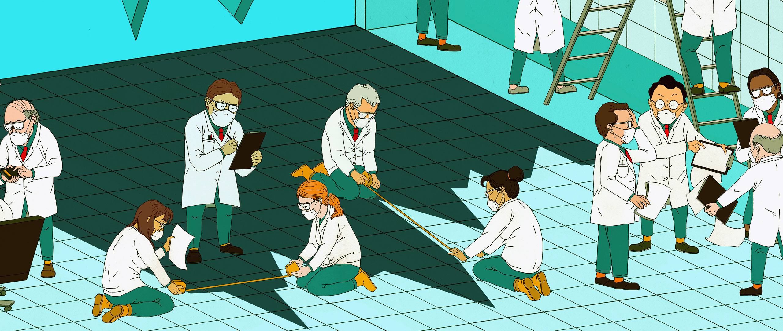 Illustration of researchers trying to reconstruct the shape of an epidemic curve from its distorted shadow on the floor.
