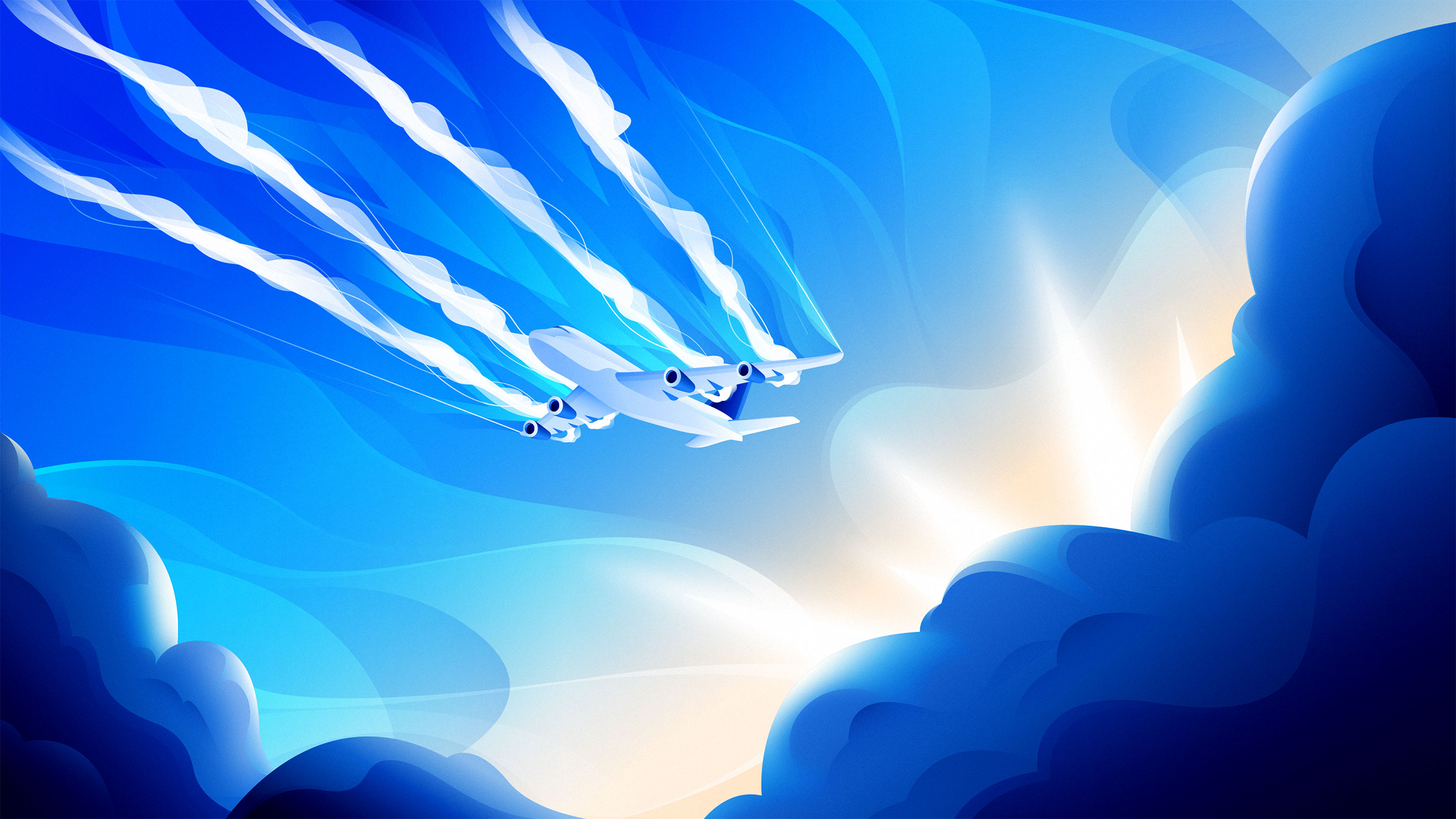 An illustration of an airplane with its contrails coming out in front of it.