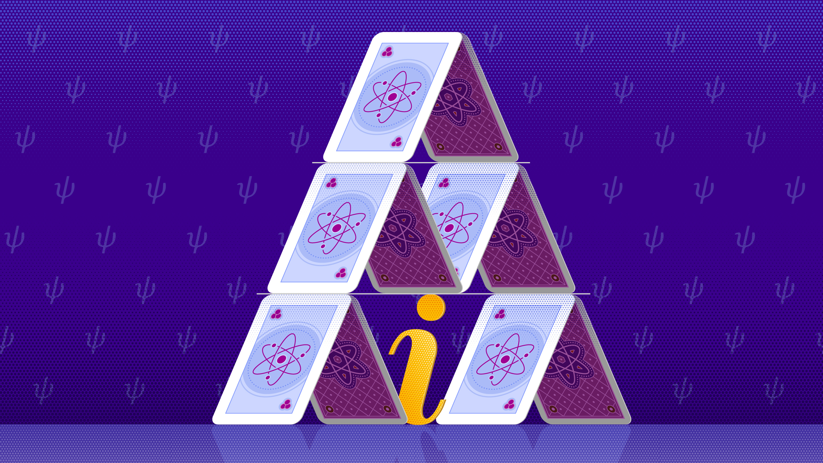 A house of cards propped up by a letter i, the unit of imaginary numbers.