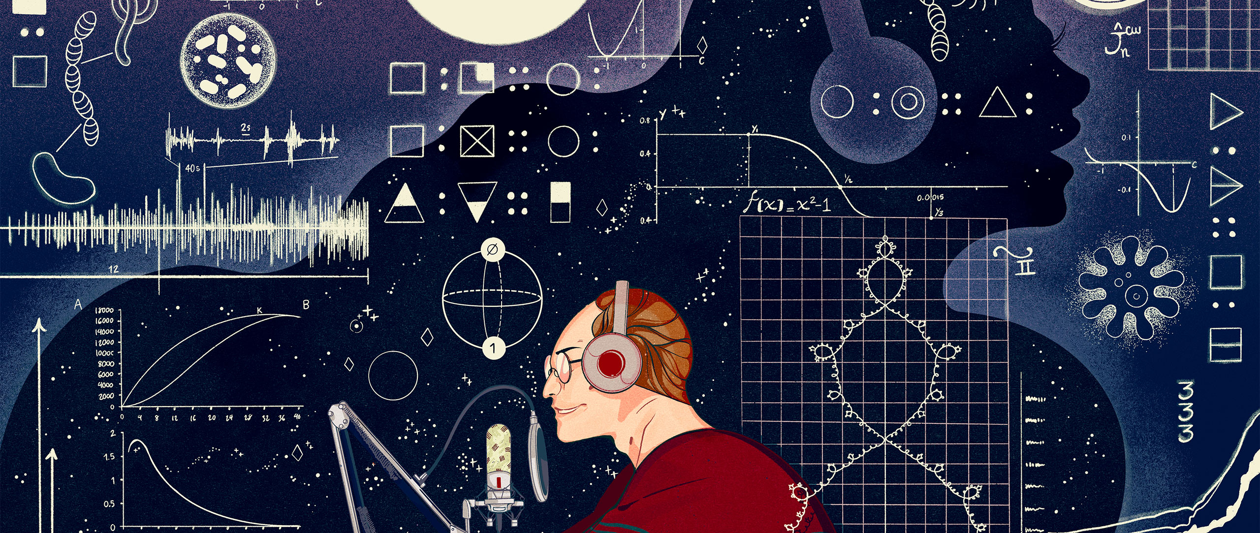An illustration showing Steven Strogatz at a microphone, surrounded by a swirl of icons representing different subjects.