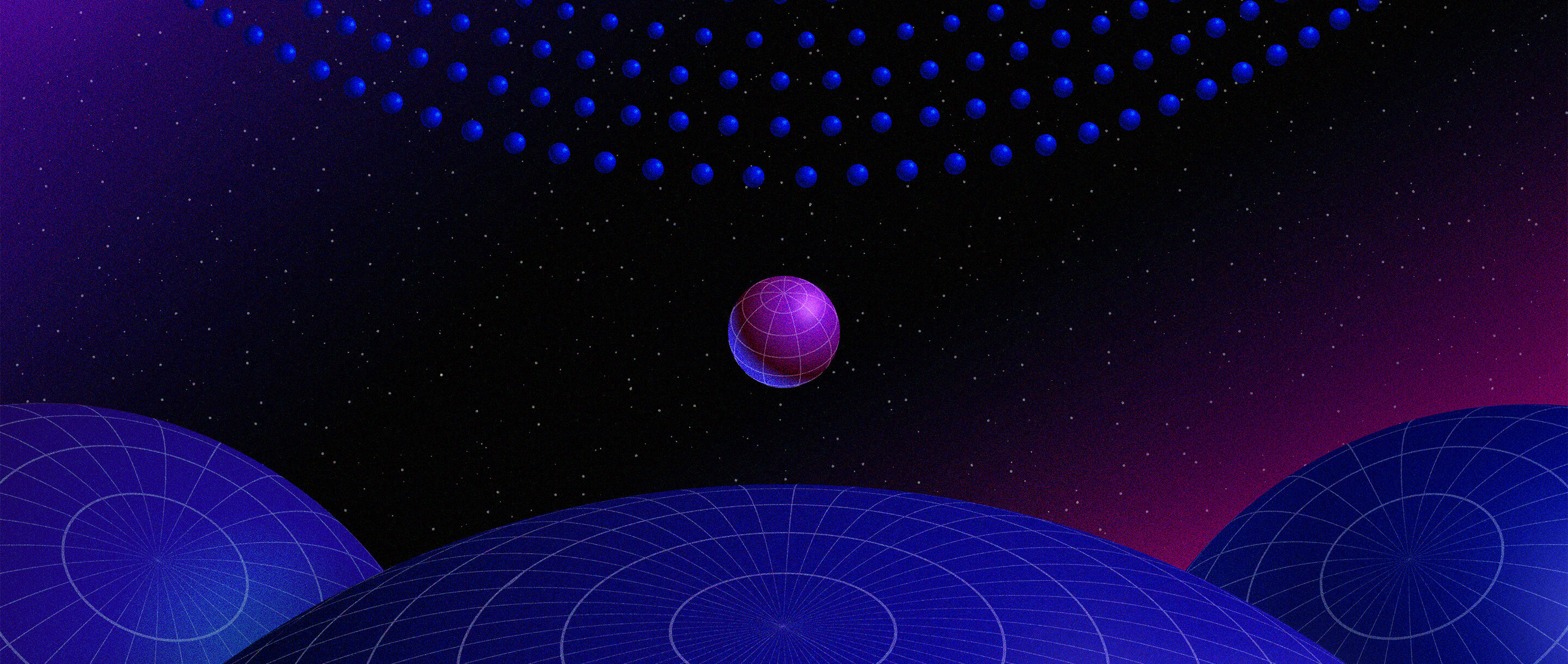 Spheres representing black holes, with small ones on top, large ones on the bottom, and one midsize example in the middle.