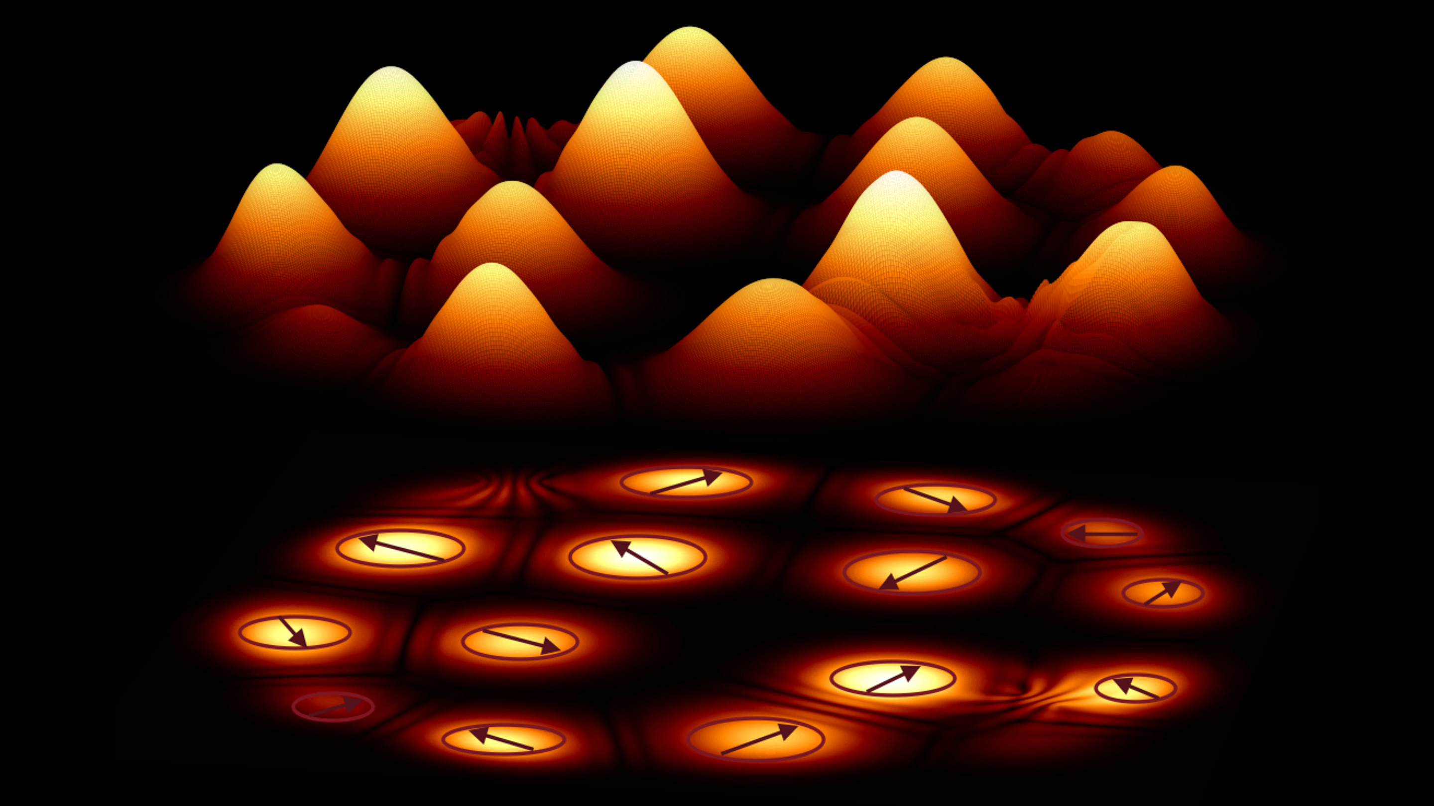 Orange hills (polaritons) against a black background. Below each hill, an arrow points to an angular position on a circle.