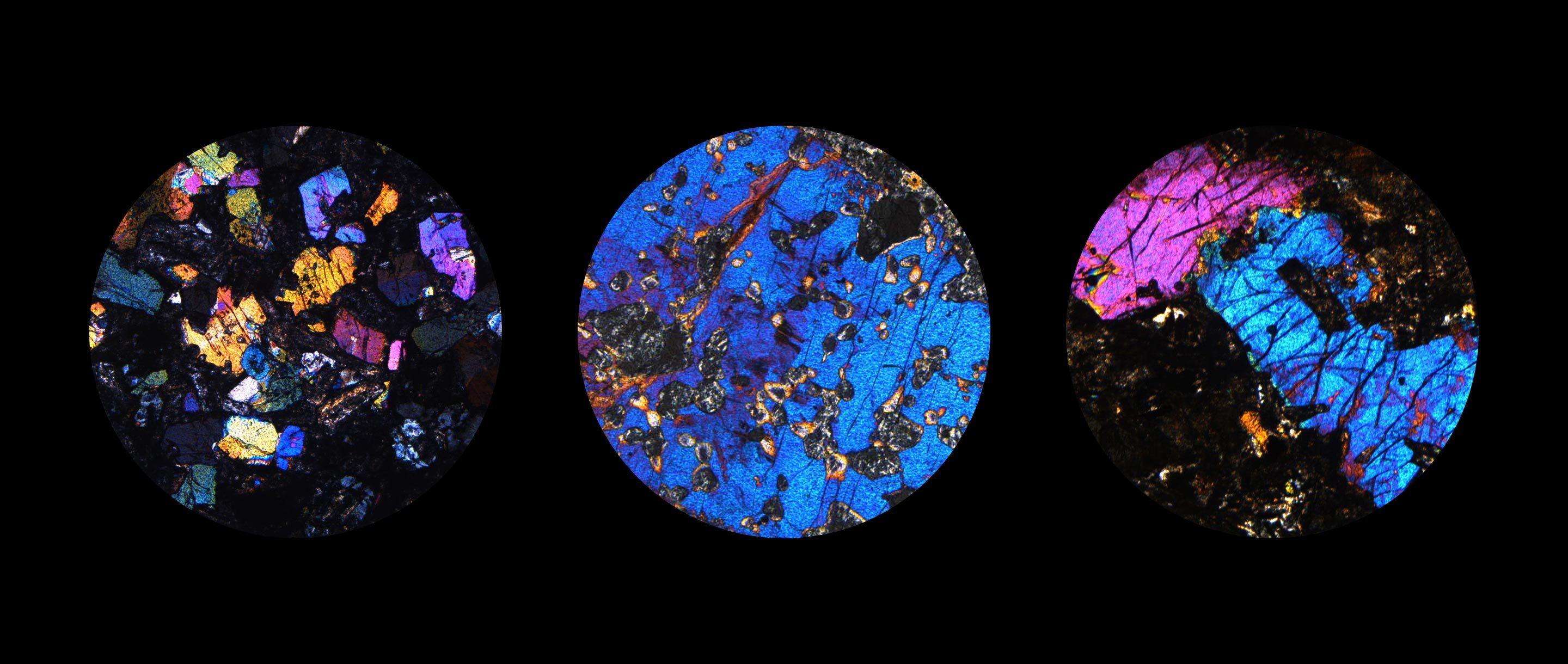 A mosaic of five microscope images of igneous rocks. The rocks are dappled with blue, pink, orange and multicolor inclusions.
