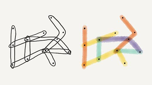 Side-by-side illustrations of the same linear hypergraph. The edges of the hypergraph are colored in the illustration on the right, but not in the illustration on the left.